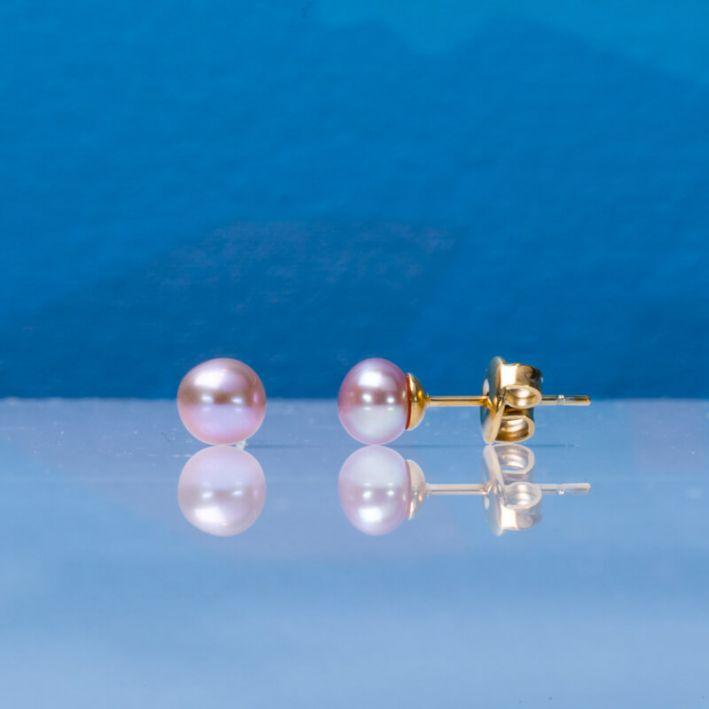 Boucles d'oreilles puces perles de culture roses sur acier doré