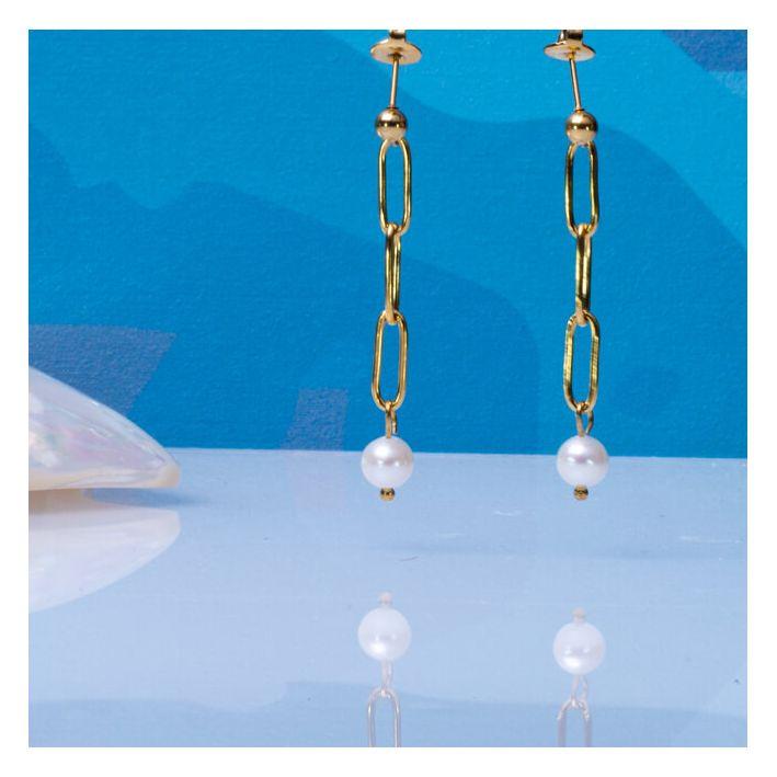 Boucles d'oreilles grosses mailles et perle de culture baroque