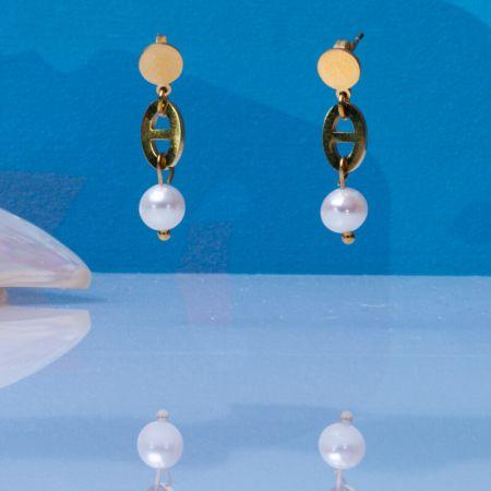 Boucles d'oreilles grosses mailles marines et perle de culture blanche