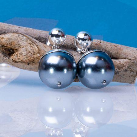 Boucles d'oreilles perles nacre noire couronnées argentées