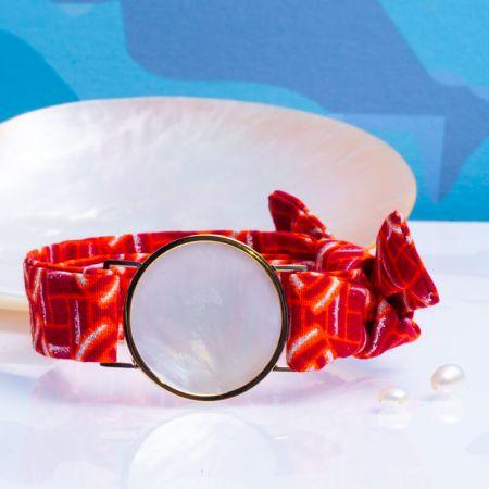 Bracelet médaille de nacre et son ruban à nouer - Sicile