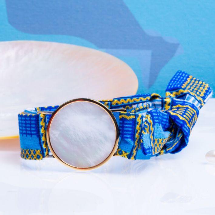 Bracelet médaille de nacre et son ruban à nouer - Chypre