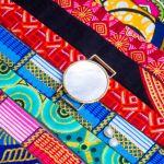 Bracelet médaille de nacre et son ruban à nouer - Mexique