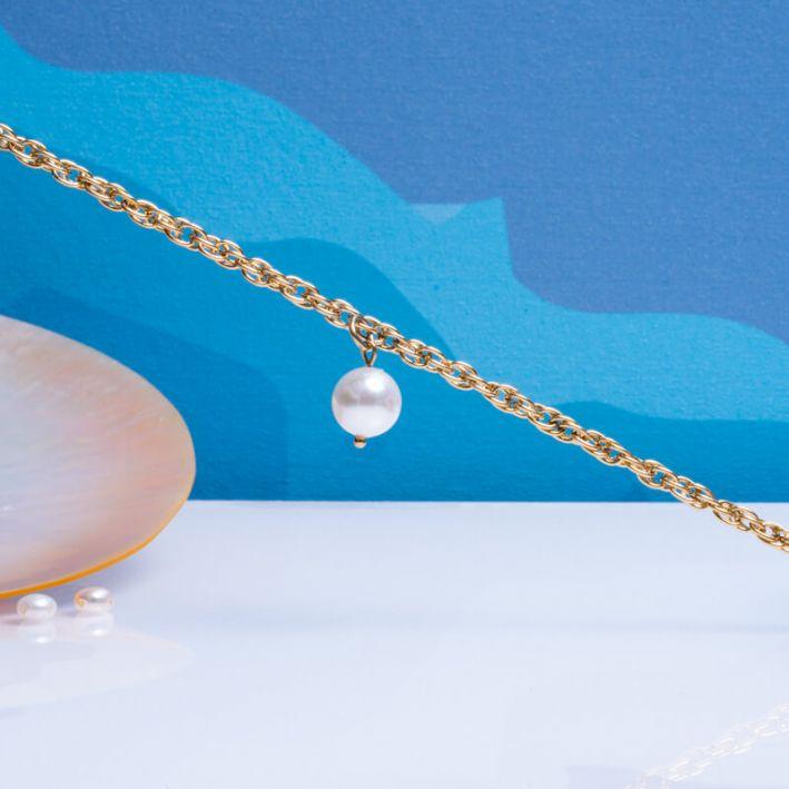 Bracelet grosses mailles en acier doré et pampille perle de nacre blanche