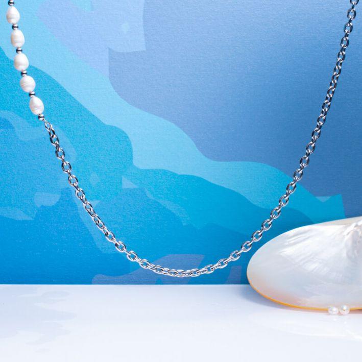 Collier mailles en acier argenté et perles de culture baroques