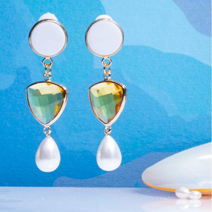Boucles d'oreilles clip cristal jaune et pampille nacre blanche