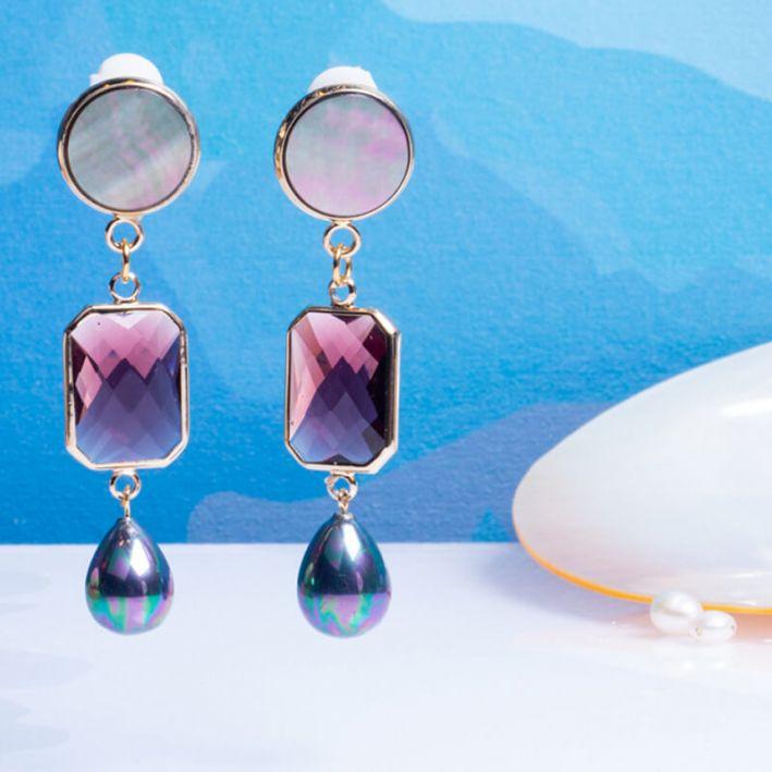 Boucles d'oreilles clip cristal violet et pampille nacre noire