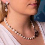 Boucles d'oreilles clips perles de nacre blanches sur anneau sellier argenté