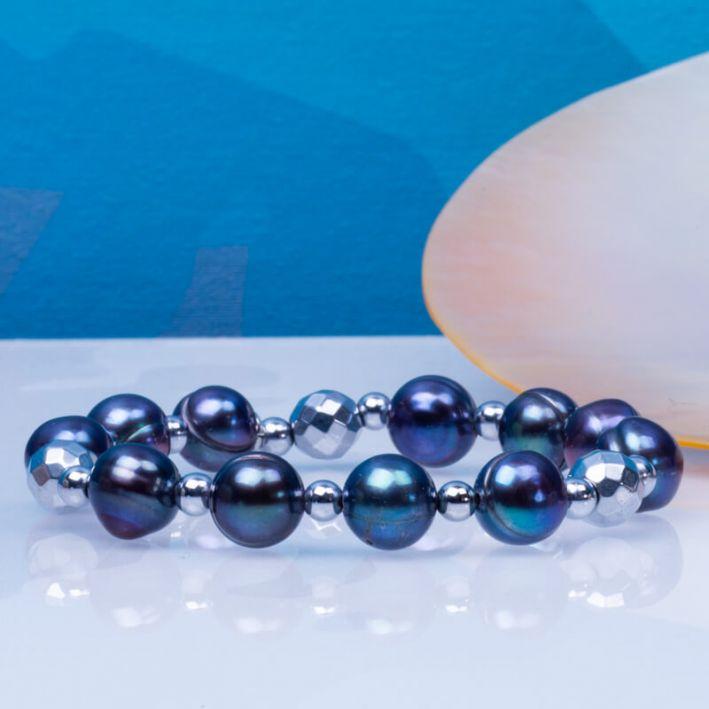 Bracelet perles de culture noires et perles d'hématite facettée