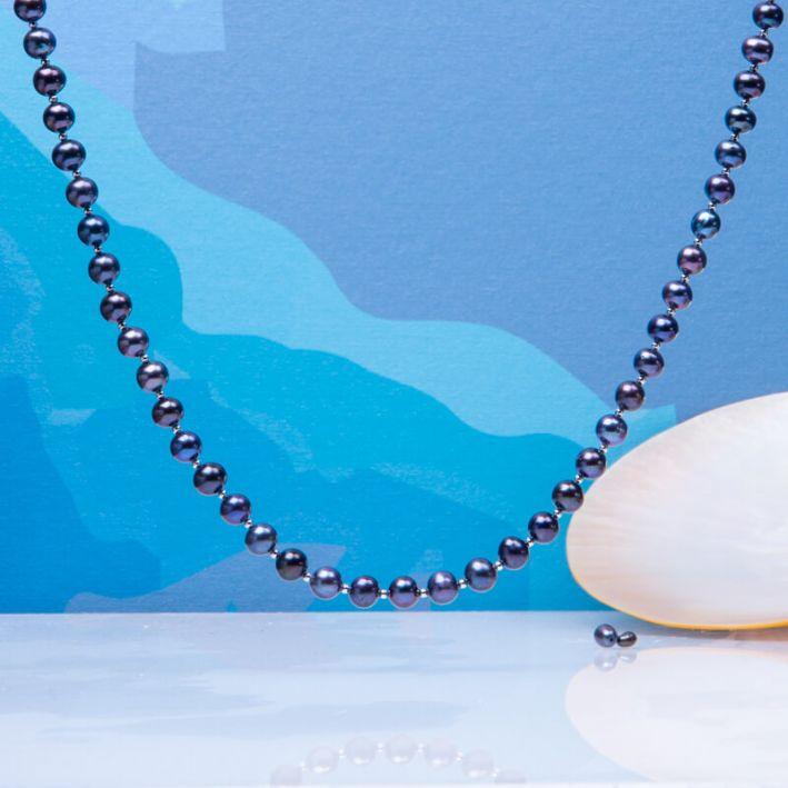 Collier perles de culture noires et perles en argent massif