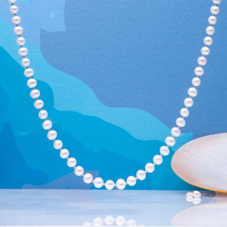Collier perles de culture blanches et perles en argent massif