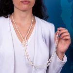 Sautoir perles de culture blanches