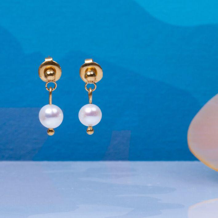 Boucles d'oreilles dormeuses perles de culture blanches
