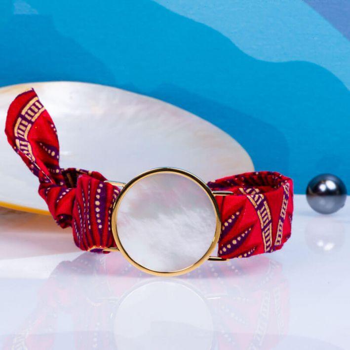 Bracelet médaille de nacre blanche et son ruban à nouer - Naples