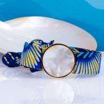 Bracelet médaille de nacre blanche et son ruban à nouer - Elsinki