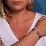 Bracelet 3 rangs coton bleu et ses petites perles de culture blanches