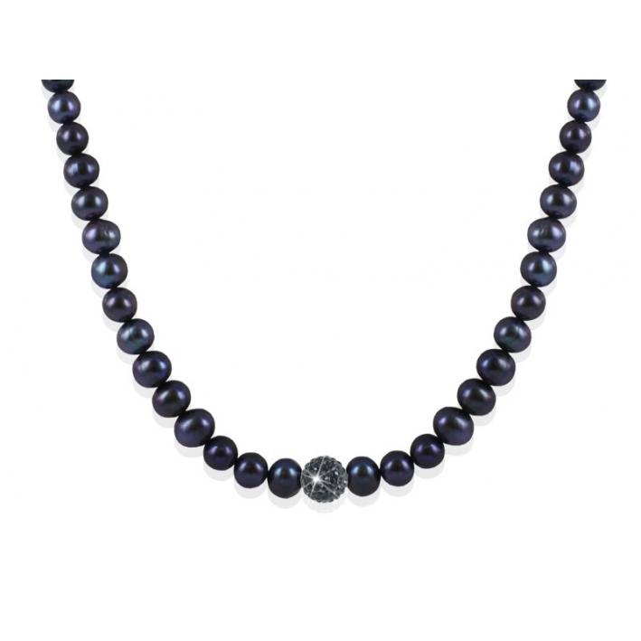 Collier Perles et Shamballa noirs