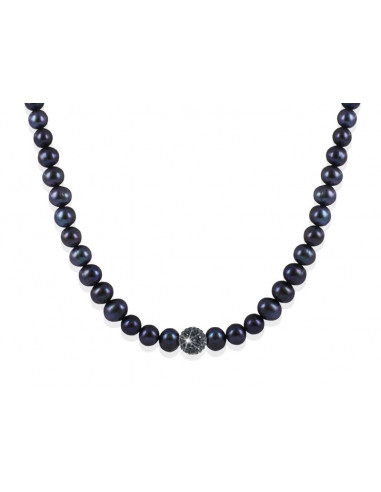 Collier Perles et Strass Shamballa noir