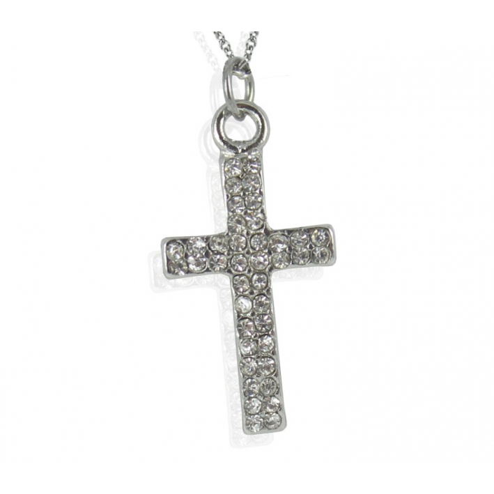 Pendentif scintillant Croix en cristal blanc sur chaine argentée