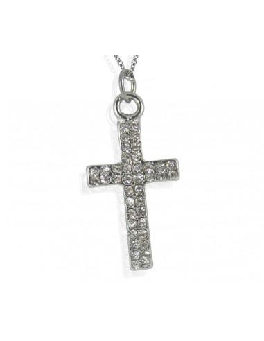 Collier pendentif croix latine en cristal blanc sur métal argenté rhodié