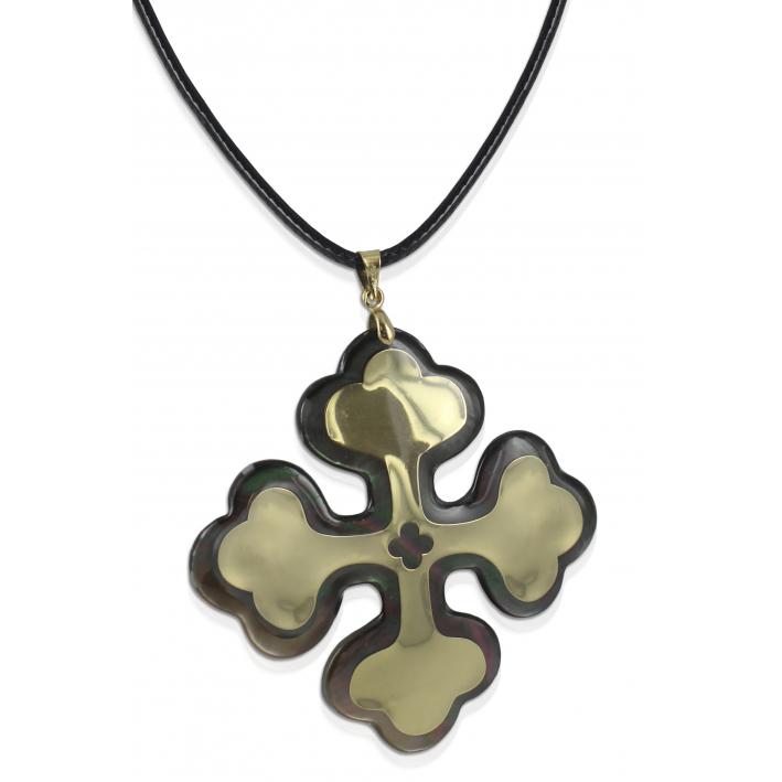 Pendentif croix occitane nacre noire rhodiée