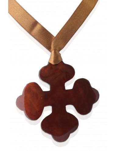 Pendentif croix occitane nacre chocolat