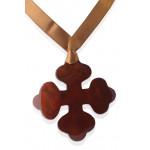 Pendentif croix occitane nacre marron chocolat