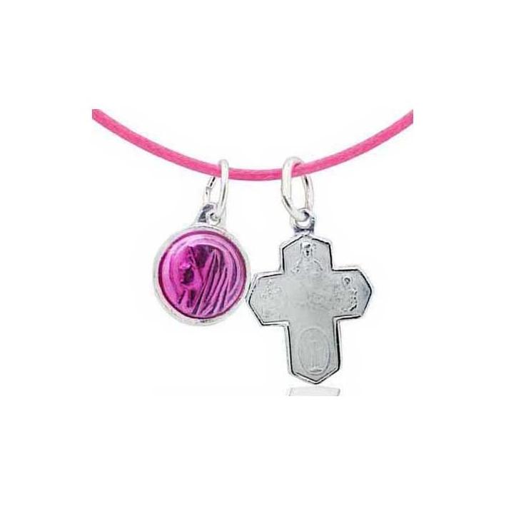Collier rose médailles Sainte Marie et croix
