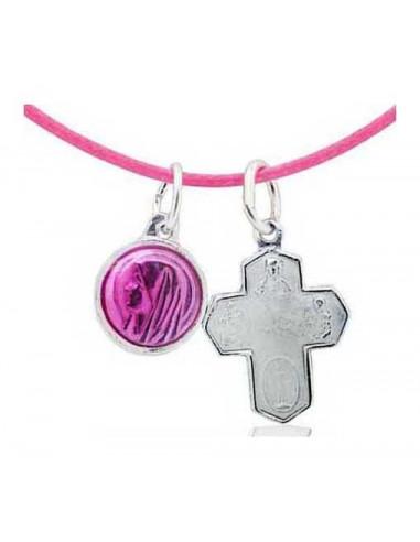 Collier rose médaille vierge émail rose et croix blanche