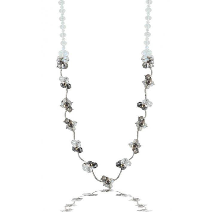 Sautoir de perles de cristal argenté sur tubes