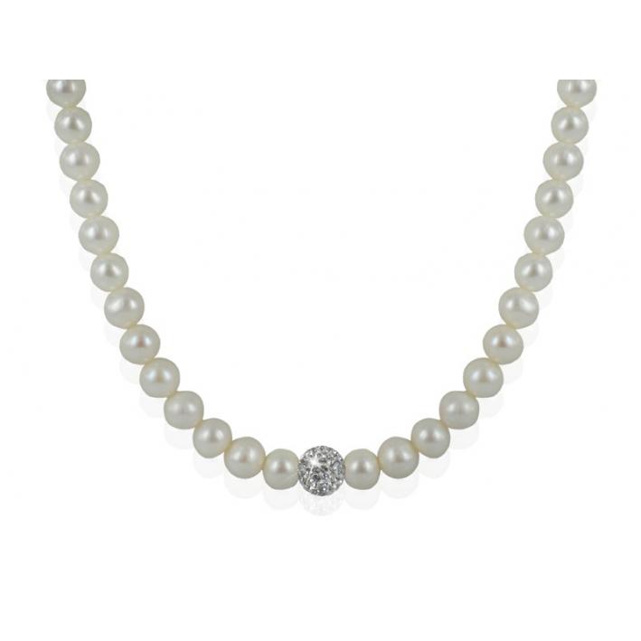 Collier Perles et Shamballa blanc