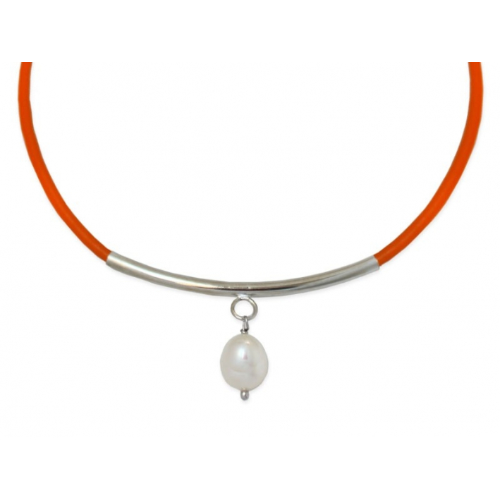 Collier Cuir Raffiné orange