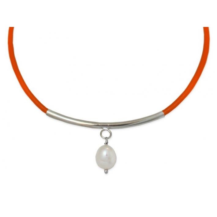 Collier Cuir Raffiné orange