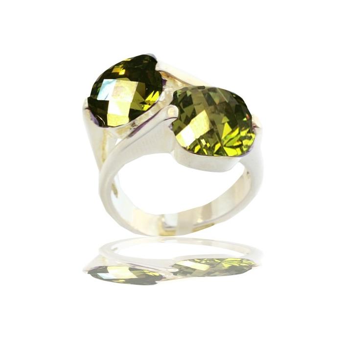 Bague Toi et Moi cristal facetté vert péridot