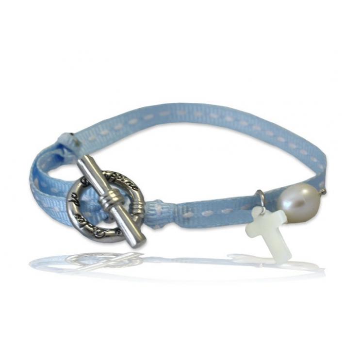 Bracelet breloque nacre croix ruban sellier bleu