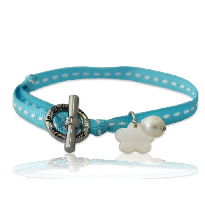 Bracelet Breloque Nacre sur sellier bleu