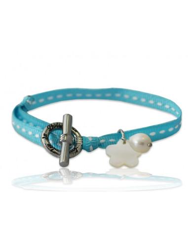 Bracelet breloque nacre fleur ruban sellier bleu