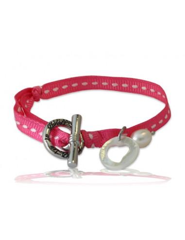 Bracelet breloque nacre coeur ruban sellier rose