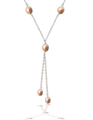 Collier Cravate perles pêche sur chaîne argentée