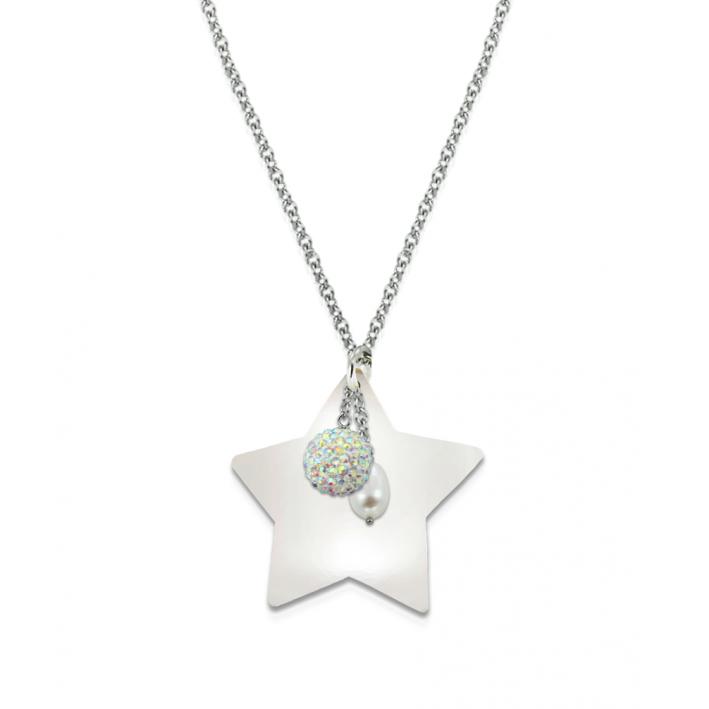 Sautoir étoile de mer blanc irisé