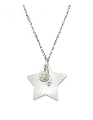 Sautoir étoile en nacre blanche irisée sur chaîne