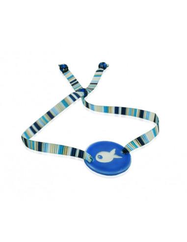 Bracelet ajustable médaille nacre poisson sur ruban bayadère bleu