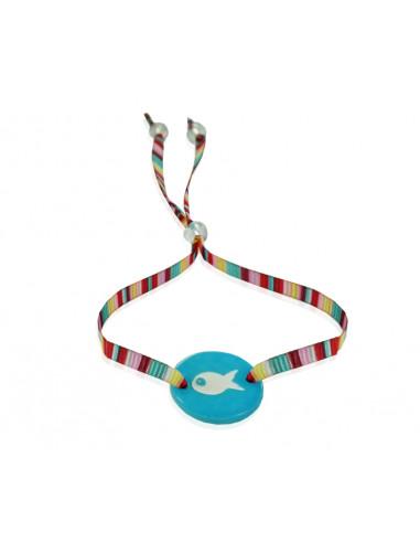 Bracelet ajustable médaille nacre poisson sur ruban bayadère