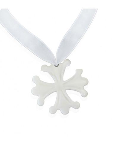 Pendentif petite Croix Occitane en nacre sur ruban