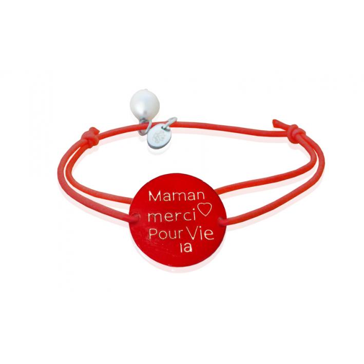 Bracelet nacre merci Maman rouge