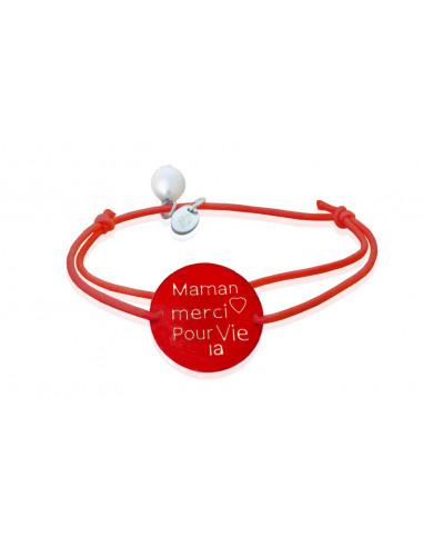 Bracelet nacre rouge gravée Merci Maman pour la Vie