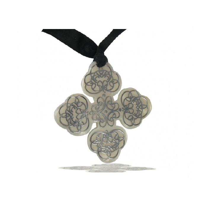 Pendentif croix occitane nacre blanche sérigraphiée
