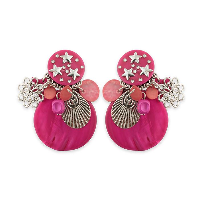 Boucles d'oreilles Clip Nacre étoiles roses
