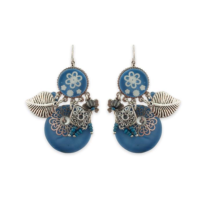 Boucles d'oreilles Nacre Fleurs bleues