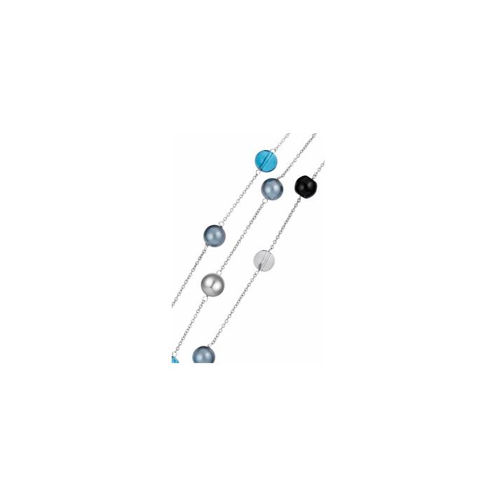 Bracelet 3 rangs brillance bleue givrée